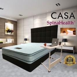 Cassa SpinaHealth by Goodnite King Firm 8.5 Inches Posture Spring Mattress only(10 year warranty by Goodnite) with Mattress Topper Protector and Mobile Height Adjustable Bed Side WorkstationTable 60x40cm (White)